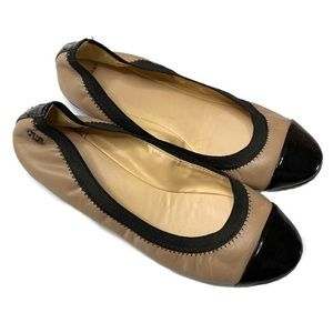 COLE HAAN Deltona Gore Ballet Flats Maple & Black